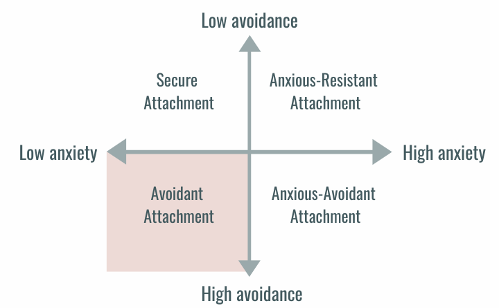 Attachment styles on a line graph with low avoidance to high avoidance on y-axis and low anxiety to high anxiety on x-axis. Avoidant Attachment is the high avoidance, low anxiety and bottom left quadrant