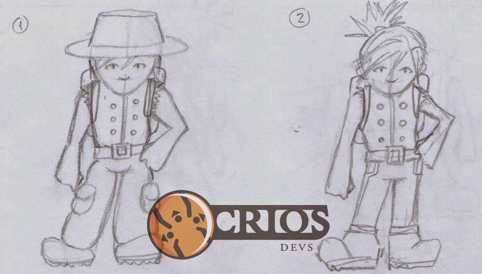 Boceto conceptual del personaje del juego que estamos desarrollando (luego se achica todo y tiene un lindo aspecto pixelado)