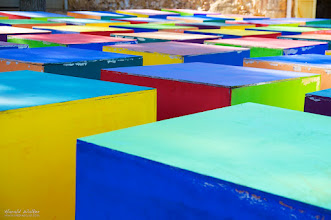 Photo: Colorful cubes at a former ochre factory in Roussillon (France, Provence).