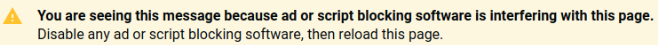 Funding Choices message if script is blocked