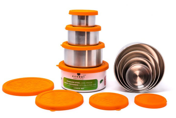Ecozoi - Matlåda Rostfritt Stål med silikonlock 4 st