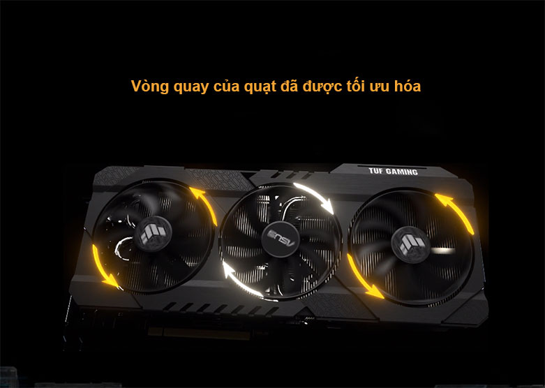 Card màn hình/ VGA ASUS TUF Gaming GeForce RTX 3060 OC 12G (TUF-RTX3060-O12G-GAMING) | Vòng quay quạt tối ưu