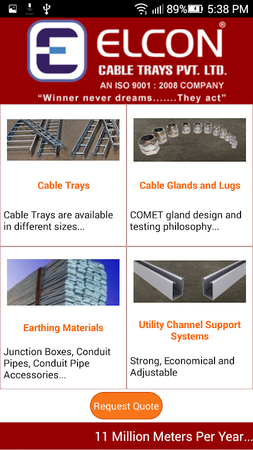 Elcon Cable Trays- screenshot