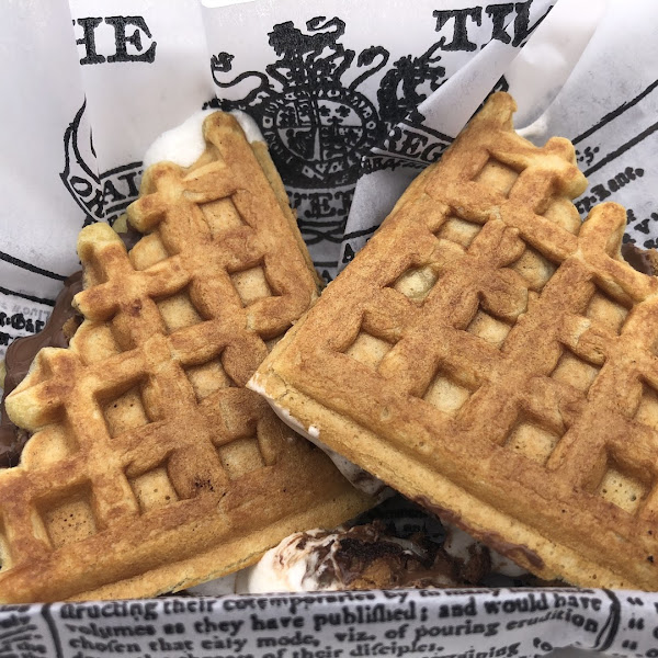 Amazing s'mores waffles. So warm, it just melts in your mouth.