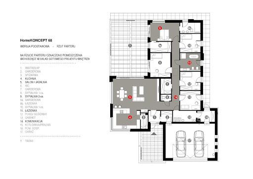 Koncept-68 - Rzut parteru - projekt wnętrza