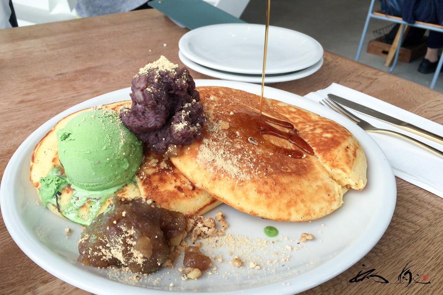 小豆と抹茶ジェラードのパンケーキ