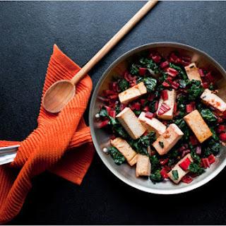 Stir-Fried Tofu With Red Chard