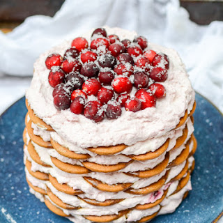 Gingersnap Icebox Cake with Cranberry Mascarpone Whipped Cream.