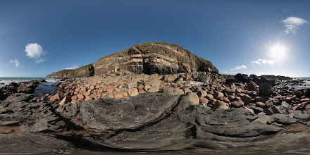 Photo: Megiliggar Rocks near Porthleven in Cornwall. Image fused from bracketed images using Hugin. Three images at 2 stop intervals were captured for each of eight different camera orientations.