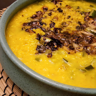Indian Lentil Soup - Moong Dal With Zucchini, Burnt Garlic and Crispy Onions