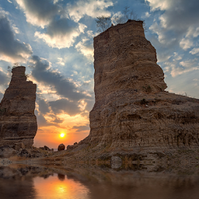 Brown Canyon by Rio Tanusudiro - Landscapes Sunsets & Sunrises ( clouds, mining, reflection, sky, sunset, brown, rock )