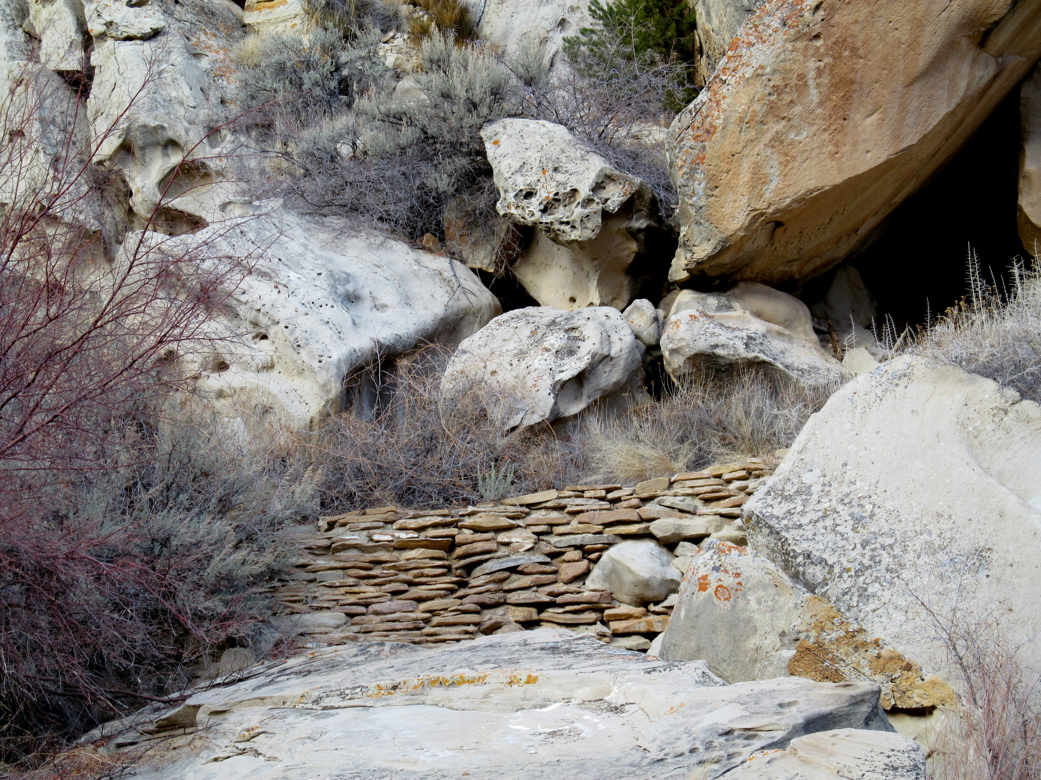 Photo: Rock wall across the creek