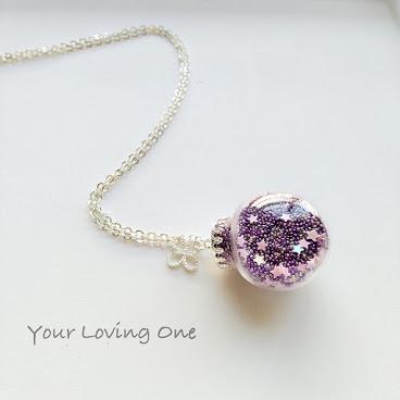 紫色珠星星頸鏈
