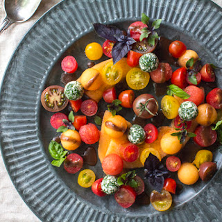 Heirloom Tomato and Melon Salad with Goat Cheese and a Date – Balsamic Dressing