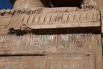 Photo: Kom Ombo - hypostyle hall exterior - cartouches of various kings