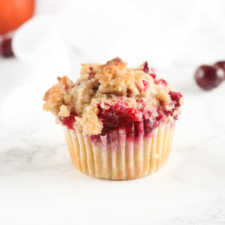 Whole Grain Cranberry Orange Pecan Streusel Muffins.