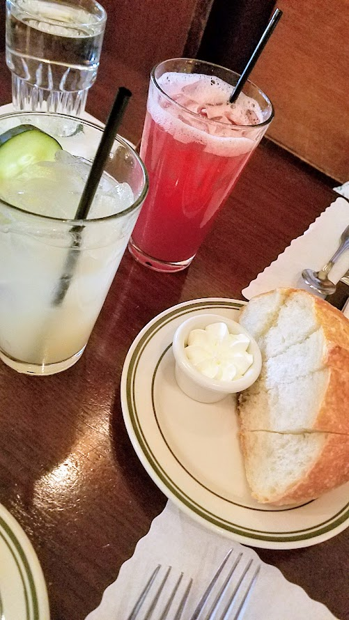 Grapefruit Cucumber Limeade and Pomegranate Palmer with complimentary bread service at Jake's Famous Crawfish in Portland, Oregon