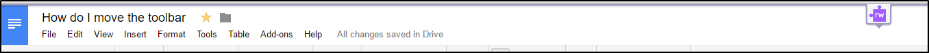 Read&Write for Google Chrome toolbar retracted