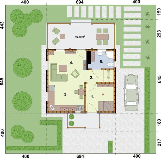 Orlean 4 szkielet drewniany dom letniskowy z poddaszem użytkowym - Rzut parteru