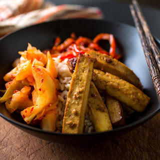 Brown Rice Bowl With Oven-Baked Miso-Glazed Tofu