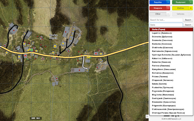 DayzDB.com Map - City search