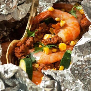 Grilled Chorizo, Shrimp and Veggie Foil Pack