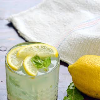 Lemon Basil Gin Fizz Cocktail.