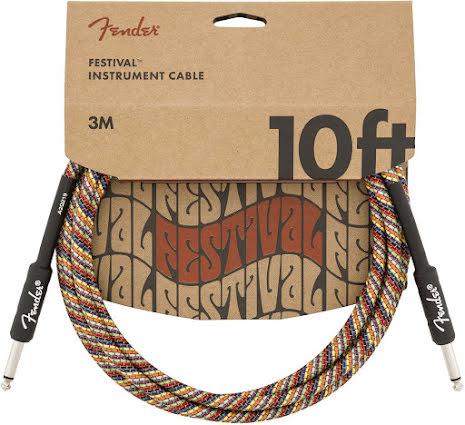 Fender 10ft Festival Instrument Cable, Pure Hemp, Rainbow