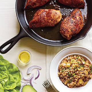 Blackened Chicken with Dirty Rice.