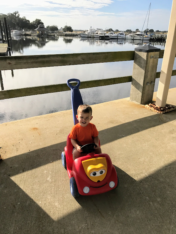 We've had so much fun watching the other two when we can to allow Jason and Meghan get settled in with Quinn. Logan and I took his car for a spin out to the base Marina.