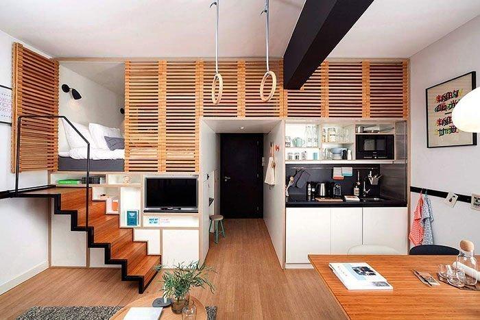 Mẫu thiết kế căn hộ mini khá linh hoạt mang vẻ cổ điển xen hiện đại