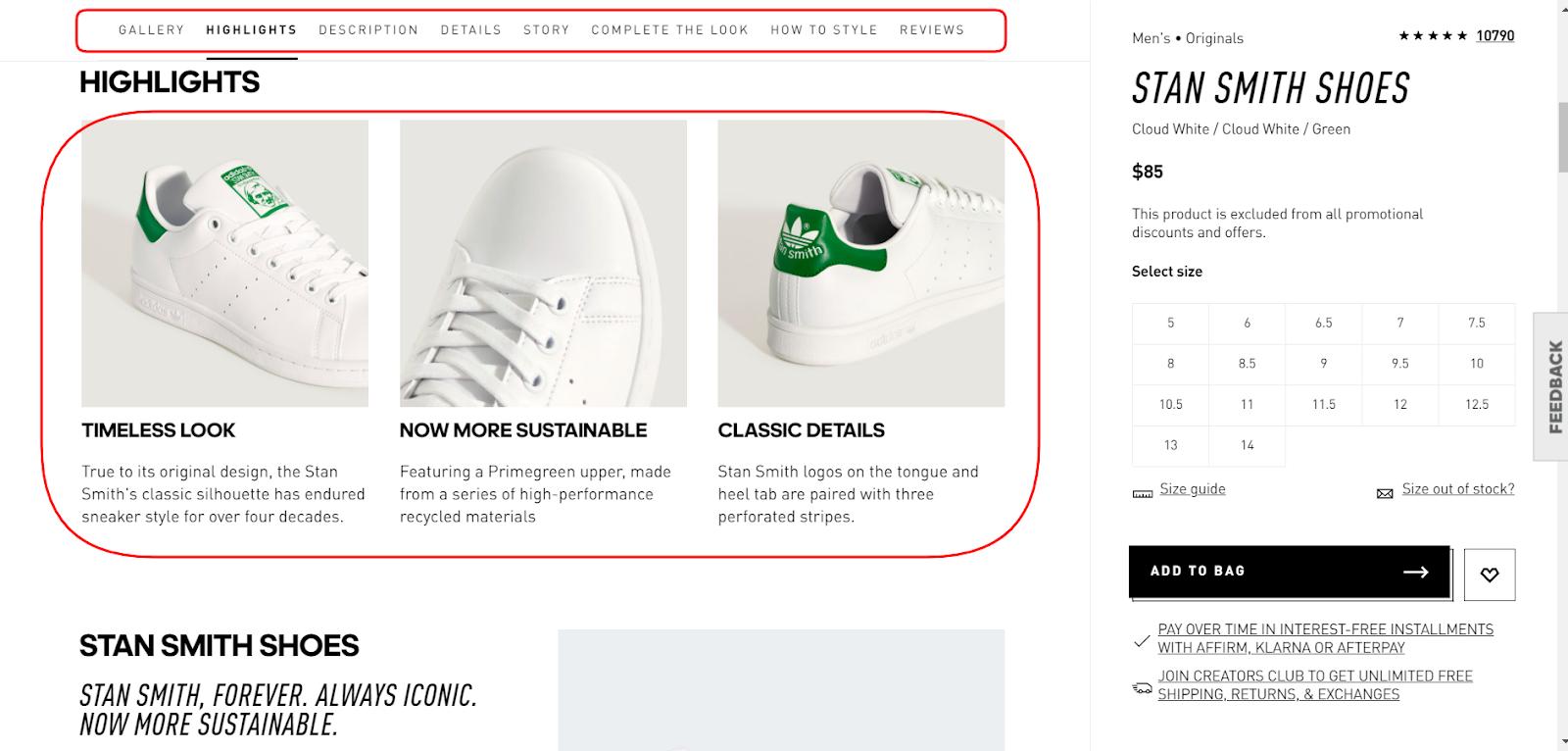 USP on Adidas website