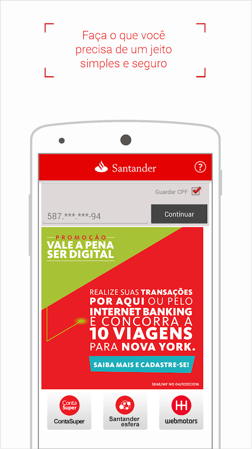 Screenshots of Santander Brasil for Android