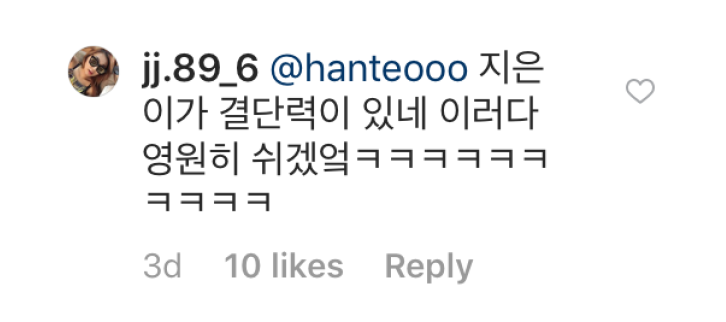 Fan comment on IU savage instagram