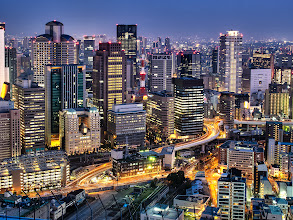 Photo: Osaka city as the sun fades from the Umeda Sky building at sunset