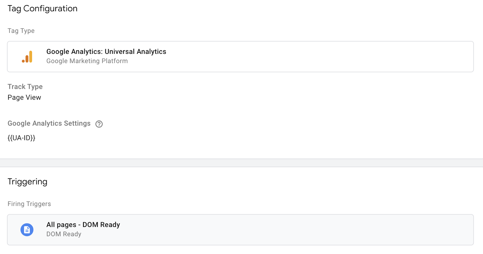 Google Analytics Tag setup example
