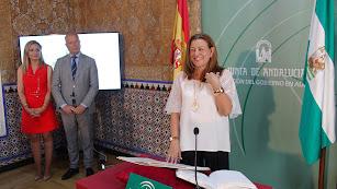 Mari Carmen Castillo Mena tomando posesión como delegada de Educación y Deporte.