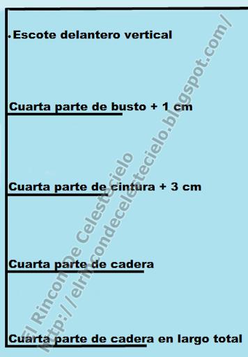 Colocando medidas horizontales para trazar la mitad del patrón delantero