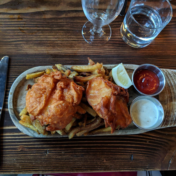 Cider battered gluten free fish and chips