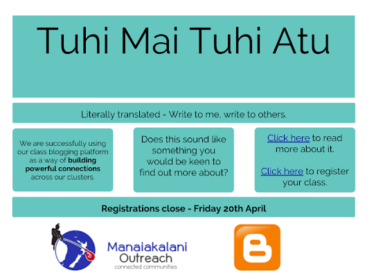 Tuhi Mai, Tuhi Atu - Manaiakalani Outreach Blogging Flyer