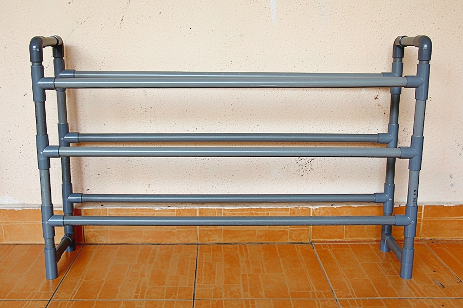 rak kasut dari paip PVC secara diy
