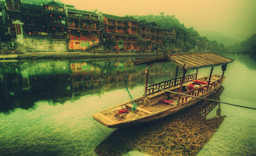 Photo: A lonely boat rests in the ancient city of the Phoenix in southern China...  Every morning was foggy and misty, and perfect for a nice morning walk to take photos.