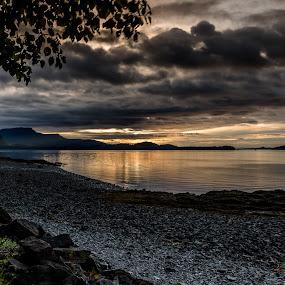 Icy Strait Sunset by John Chitty - Landscapes Sunsets & Sunrises ( water, sunset, alaska, seascape, rocks, icy strait,  )