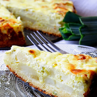 Potato Pie with Leeks, and Feta Cheese