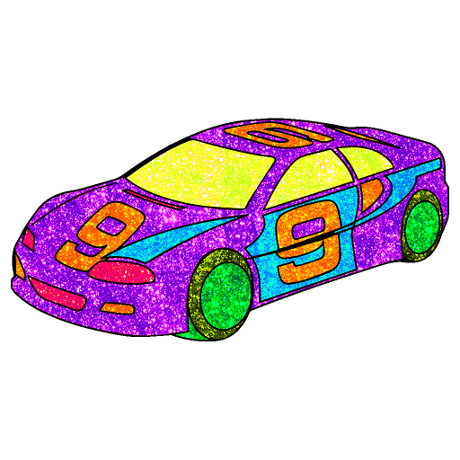 Vehicles Glitter Color by Number : Adult Coloring Icon