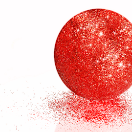 Red Glitter Ball by Robin Amaral - Artistic Objects Other Objects ( red, sparkle, ball, ornament, white background, glitter, artistic object, shiny,  )