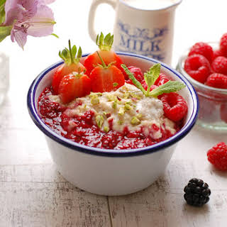 Creamy Porridge with Cardamom and Berry Compote.