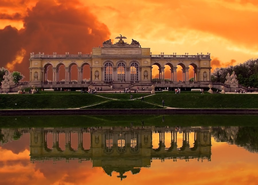 Schönbrunn by Milan Milosevic ヅ - Buildings & Architecture Other Exteriors ( reflection, schönbrunn, sunset, beauty, architecture, landmark, travel )