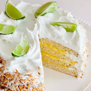 Coconut Lime Cake with Meringue Frosting.