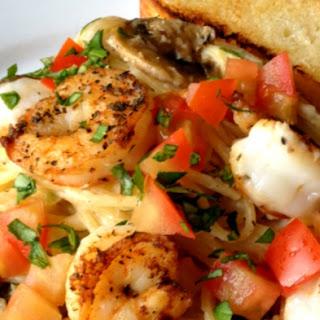 Seared Salt and Pepper Shrimp Over Thin Spaghetti with a Mushroom and Garlic Cream Sauce Recipe